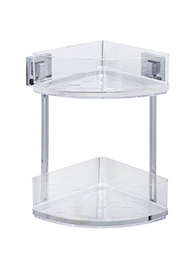 (Wenko Vacuum-Loc Quadro Wall-Mounted 2-Tier Corner Rack, No Drilling Required, Chrome)