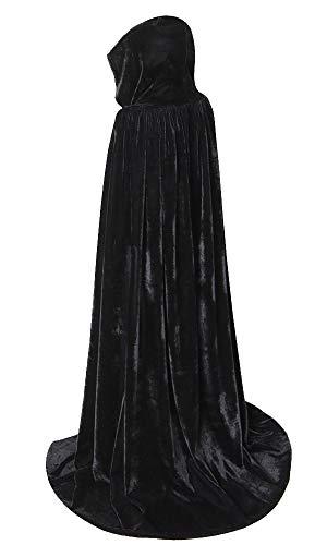 (yolsun Unisex Hooded Cloak, Full Length Halloween Velvet Cape with Hood, Christmas Costumes Cloak (59