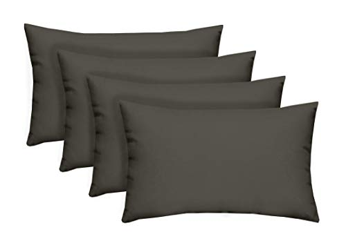 - Resort Spa Home Decor Set of 4 Indoor/Outdoor Decorative Lumbar/Rectangle Pillows - Solid Charcoal Gray/Grey