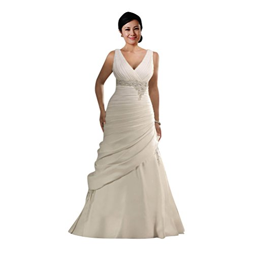 Renta Formal Gown (Mollybridal V neck Crystal Waist Beaded Ruched Long Wedding Dresses Plus size White 6)