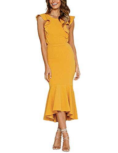 Queen.M Womens Sexy Ruffles A-Line High Low Cocktail Dress Retro Flowy Party Midi Dress Bodycon Pencil Dress Yellow