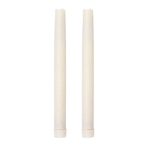 GiveU Christmas 12 Inch Flameless Led Taper Candles with Timer,Battery Operated,with White Glitter,Pack of 2