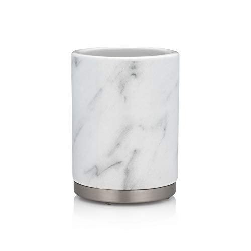 - EssentraHome White Ceramic Bathroom Tumbler Cup for Vanity Countertops, Also Great As Pencil Pen Holder and Makeup Brush Holder