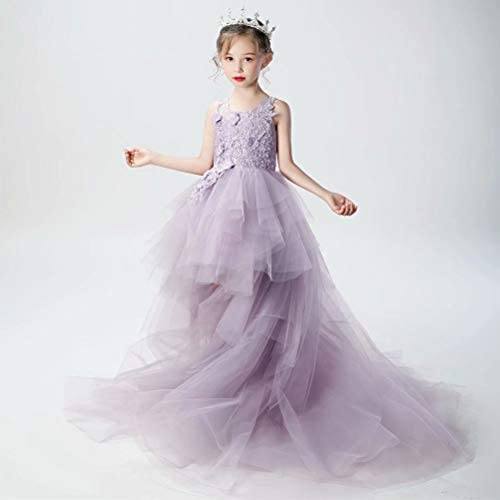 Girls/' Lots of Love High-Low Ivory//Pink Dress Knitted Floral Lace
