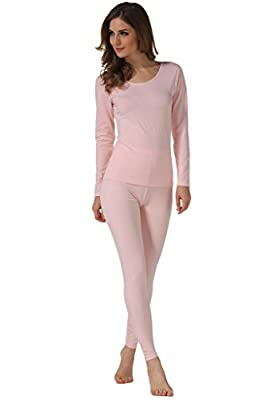 Hieasy Women's Stretch Cotton Thermal Underwear Mid Weight Base Layer Set