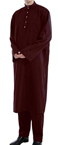 X-Future Men's National Costume Arab Robes Muslim Dress Islamic Robes Abaya Wine red (China National Dress Costume)