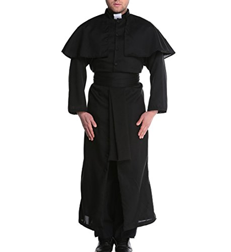 Papaya wear Men Missionary Costume Adult Priest Robe Halloween Costume Black1 M -