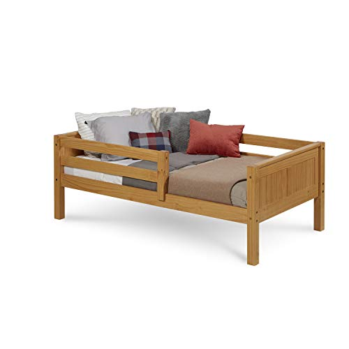 Camaflexi Panel Style Solid Wood Day Bed with Front Rail Guard, Twin, Natural