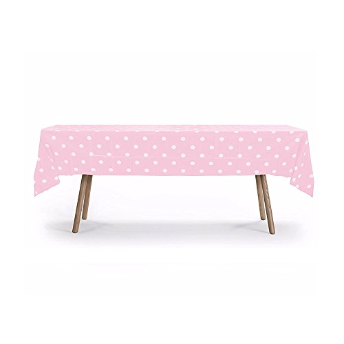 10 PACKS of Polka Dot Table Cover, Plastic Rectangular Heavy Duty Table Cover (Pink) by Gift Expressions