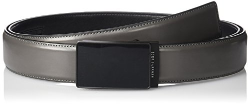 Kenneth Cole REACTION Men's Perfect Fit Adjustable Click Belt with Plaque Buckle,Grey,Medium -