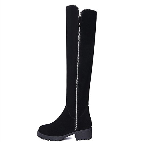 Heel Seven Toe Chunky Handmade Knee Nine Black Round High Suede Fashion Women's Low Leather Boots Snwdx8Bfxq