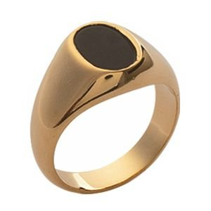 So Chic Jewels - Mens 18k Gold Plated Onyx Signet Ring