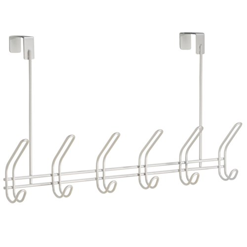 InterDesign Classico Over Door Organizer Hooks – 6 Hook Storage Rack for Coats, Hats, Robes or Towels, Pearl White by InterDesign