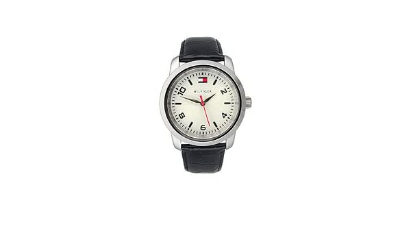 Amazon.com: Tommy Hilfiger Black Leather 3-Hand Silver Dial Womens Watch #1790279: Watches