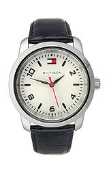 Tommy Hilfiger Black Leather 3-Hand Silver Dial Womens Watch #1790279
