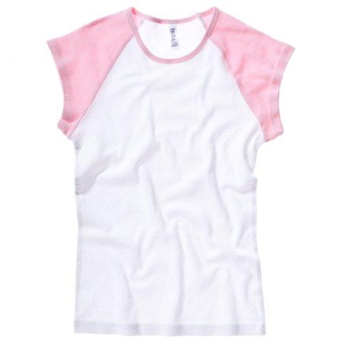 Bella Damen Canvas Rib Baby Baseball Cap Sleeve Raglan-White/Pink, M