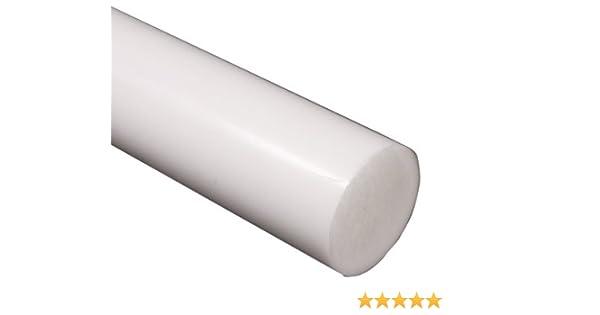 White PTFE Plastic Rod 2 Diameter x 24 Length Teflon