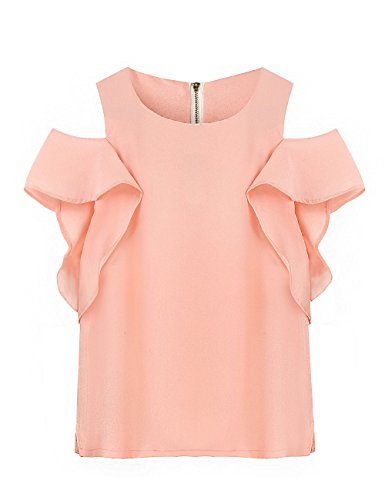 off-the-shoulder-chiffon-shirts-blouses-for-women-fashion-2017-green-mango-casual-solid-color-summer