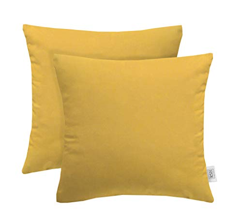 (RSH Décor Set of 2 Indoor Outdoor Decorative Square Throw Pillows Made of Sunbrella Canvas Buttercup Yellow (17