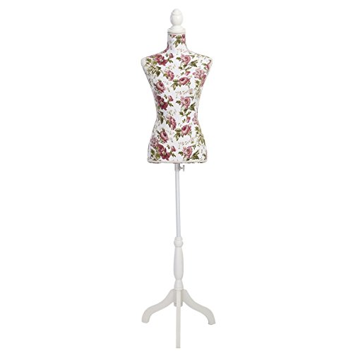 Form Adjustable Dritz Dress (Giantex Female Mannequin Torso Body Dress Form with White Adjustable Tripod Stand, 51.2''-66.2'' Adjustable Height Non-Straight Pinnable for Pants Clothing Dress Jewelry Display (Rose))