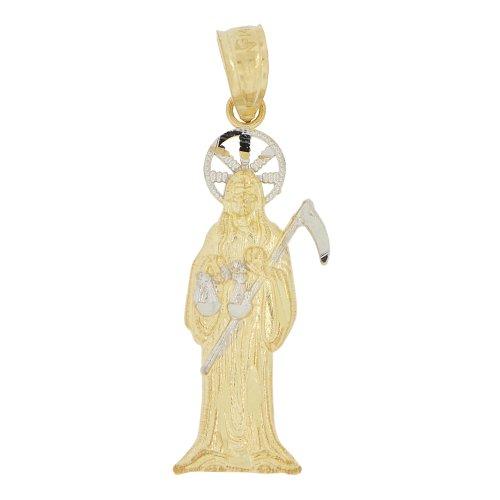 14k Yellow Gold White Rhodium, Small Death Grim Reaper Santa Muerte Pendant Charm Sparkly Cuts 9mm