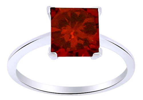 AFFY Mothers Day Jewelry Gifts 4.75 Ct Princess Cut Red Simulated Garnet Solitaire Engagement Ring in 14k White Gold Over Sterling Silver - Ring Garnet Natural Gold 14k