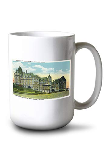 Lantern Press Quebec, Canada - Chateau Frontenac Exterior View from Terrace (15oz White Ceramic Mug)