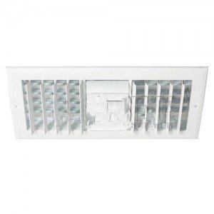 HVAC Register 14'' W x 6'' H, Three-Way Aluminum for Sidewall/Ceiling - White (021858)-2PK