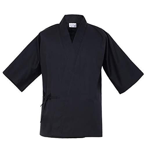 Japanese 3/4 Sleeve Black Chef Coat Men Women Summer Sushi Restaurant Kimono Chef Waiter Work Uniform