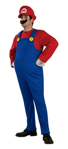 Mens Deluxe Mario Costumes (Super Mario Brothers Deluxe Mario Costume, As Shown, Medium)