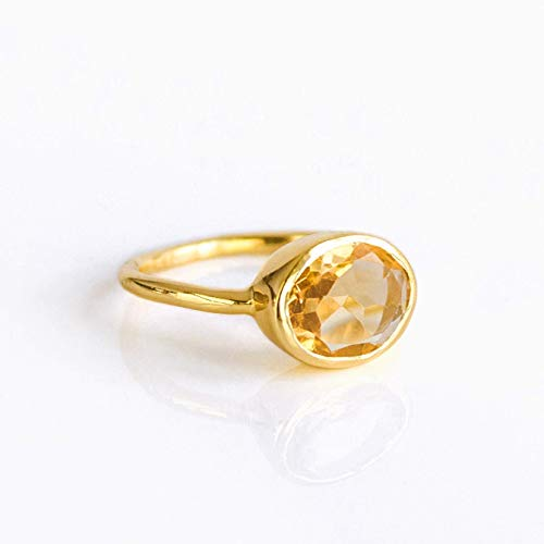 Oval Champagne Citrine Quartz Ring Bezel Set in Sterling Silver or Vermeil Gold, November Birthstone Ring
