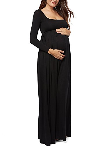 Empire Sleeve Long (Gemijack Womens Maternity Dress Maxi Long Sleeve Casual Cute Scoop Neck Empire Waist Gown)