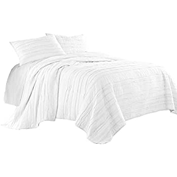 Chezmoi Collection Rebecca 3-Piece Jigsaw Pre-Washed 100/% Soft-Cotton Quilt Set