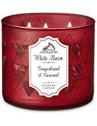 White Barn Bath & Body Works 3 Wick Candle Gingerbread & Caramel