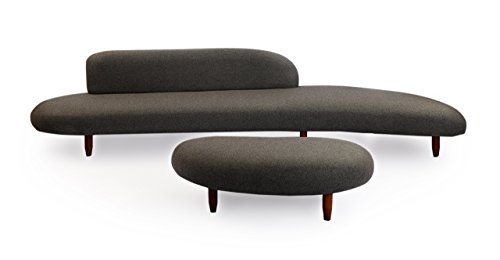 Kardiel Kidney Bean Mid-Century Modern Sofa & Ottoman, Charc
