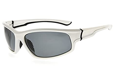 Eyekepper Sports Polycarbonate Polarized Sunglasses TR90 Unbreakable Baseball Running Fishing Driving Golf Softball Hiking, White Frame Grey (White Out Contact Lens)