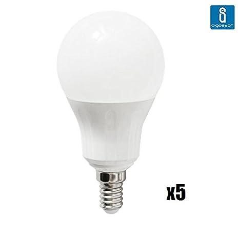 Pack de 5 Bombillas LED A5 A55 esferica, 9W, casquillo fino E14, luz blanca 6400K: Amazon.es: Iluminación