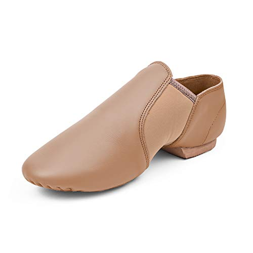 STELLE Leather Jazz Slip-On Dance Shoes for Girls Boys Toddler Kid(Tan, 11ML)