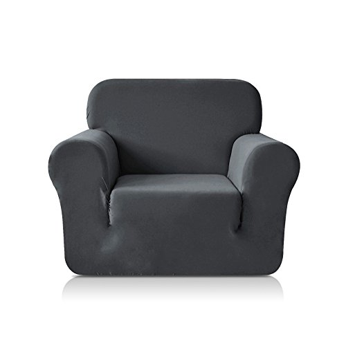 CHUN YI 1-Piece Knit Spandex Fabric Armchair Slipcover Stretch Sofa Couch Cover Furniture Protector for 1 Seat Arm Chair (Chair, Grey)