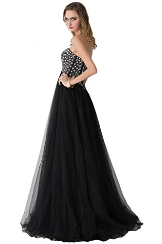 sunvary Gorgeous Negro Rhinestone Encaje Hasta Formal Noche Vestidos de negro
