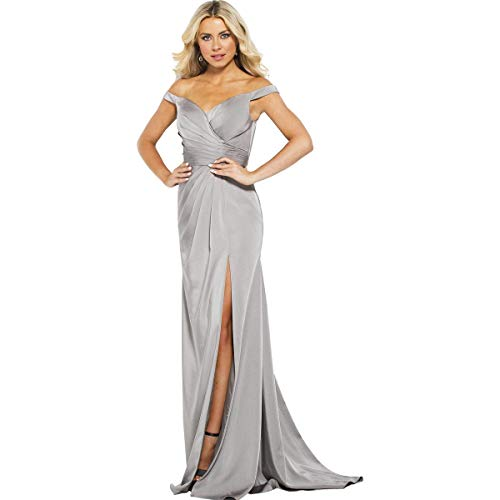 JVN by Jovani Womens 50409A Prom Off-The-Shoulder Evening Dress Taupe 4