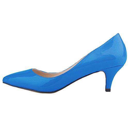Kitten Shoes Tacco Synthetic a Spillo Profondo Blu Tacco Ragazze col Scarpe Donne a Heel Punta Elegante Scarpe WanYang xqOBUAO