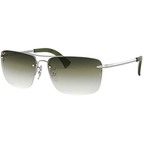 (Ray-Ban Men's RB3607 Rectangular Metal Sunglasses, Silver/Green Grey Gradient Mirror, 61 mm)