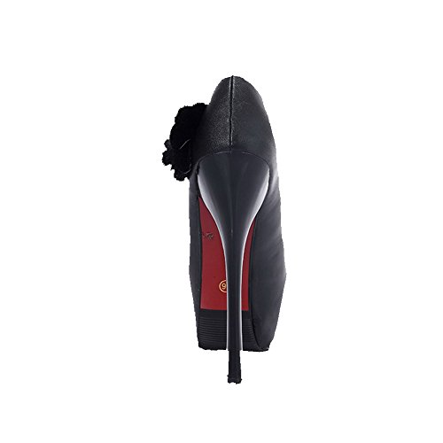 AllhqFashion Damen Rein PU Stiletto Rund Schließen Zehe Ziehen auf Pumps Schuhe Schwarz