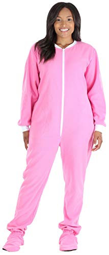 Teen Footie Pajamas (PajamaMania Women's Sleepwear Fleece Footed Onesie Pajamas Light Pink with White)