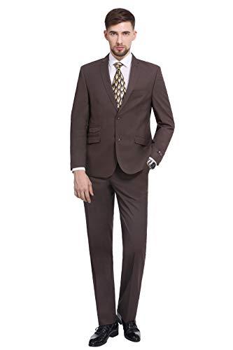 P&L Men's Premium Slim Fit 2-Piece Suit Blazer Jacket & Flat Pants Set Brown