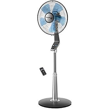 Rowenta Fan, Oscillating Fan with Remote Control, Standing Fan, 5-Speed, Silver