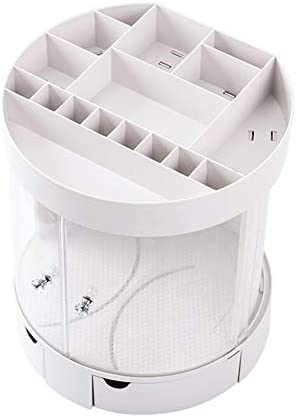 Hlake 化粧収納ボックスホワイト/ピンクラウンド卓上回転口紅スタンドアクリル大容量ドレッシングテーブル多機能ジュエリー化粧品寝室の浴室収納ボックス収納ボックス (Color : Pink)