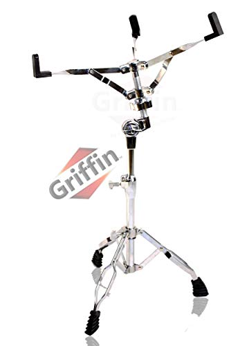 Snare Drum Stand by Griffin | Deluxe Percussion Hardware Base Kit | Double Braced, Light Weight Mount for Standard Snare and Tom Drums|Slip-Proof Gear Tilter| Sturdy Clamp Style Basket Holder