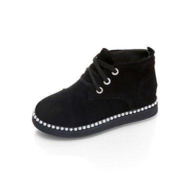 RTRY Zapatos De Mujer Suede Otoño Botas Botas De Combate Talón Plano Punta Redonda Lace-Up For Casual Rojo Y Negro US6.5-7 / EU37 / UK4.5-5 / CN37